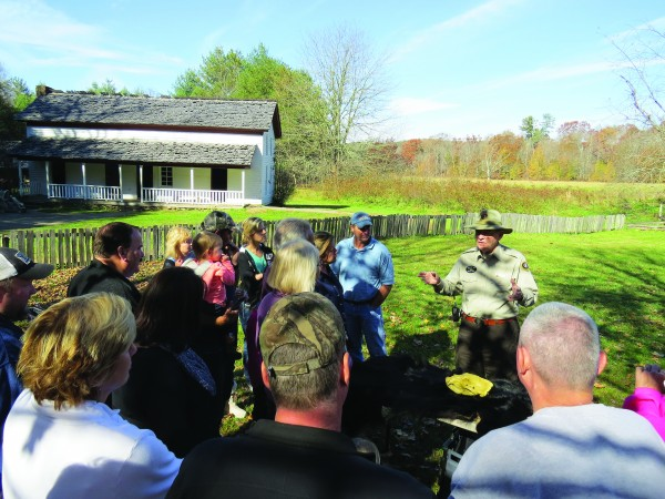 National park volunteer Ed Langston talks to visitors at Great Smoky Mountains National Park which saw over 10,000,000 visitors in 2014, an 8 percent increase over the previous year.  (NPS photo)