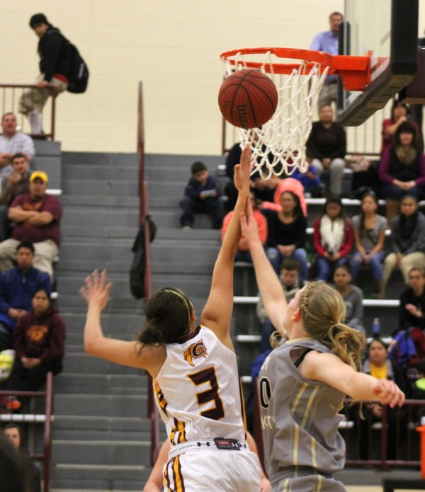 The Lady Braves (9-0) stayed undefeated and vaulted into first place in the Big Smoky Mountain Conference with a 50-47 win over the Hayesville Lady Yellow Jackets at home on Friday, Jan. 2.  (SCOTT MCKIE B.P./One Feather)