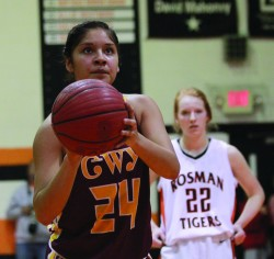 Tiffani Riggins lines up a foul shot during Tuesday's game.  She finished the night with seven points.