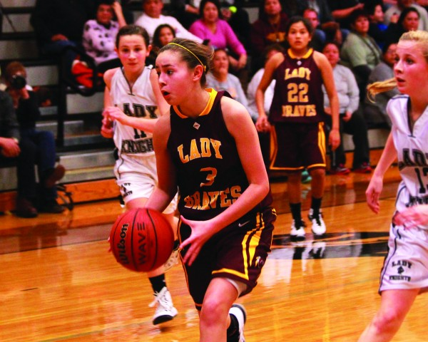 Tori Teesateskie, CMS Lady Braves, brings the ball up the court during a game at Robbinsville on Monday, Jan. 12.  Cherokee stayed undefeated with a 44-37 victory.  (AMBLE SMOKER/One Feather)