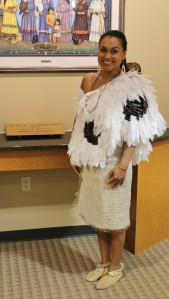 Kara Martin, an EBCI tribal member, models a traditional Cherokee feather cape and twined skirt that she wore at the 2014 Miss Indian World pageant.   (SCOTT MCKIE B.P./One Feather)