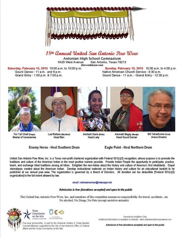 United San Antonio pow wow flyer (Feb 14-15)