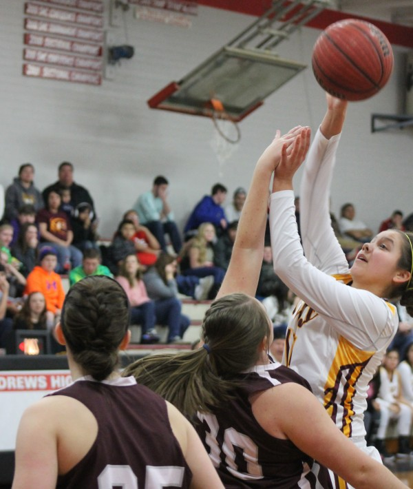 The Cherokee Lady Braves (21-3) more than tripled Swain's score with a big opening round win in the Smoky Mountain Conference Tournament at Andrews on Friday, Feb. 13.   (SCOTT MCKIE B.P./One Feather)