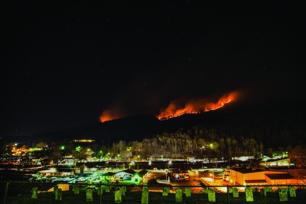 A fire burns on Mount Noble on the night of Saturday, Feb. 7.  In all, a total of 500 acres burned according to officials at the Cherokee Indian Agency.  (Photo by Kristy Maney Herron/EBCI Commerce)