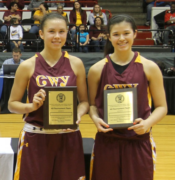 Lady Braves seniors Kendall Toineeta and Reagan Barnard were named to the 1A West All-Regional Tournament team on Saturday, March 7 in Winston-Salem.  The two have also been named to the Blue-White All-Star game set for Saturday, March 21 at Roberson.