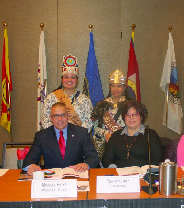 Miss Cherokee Taylor Wilnoty (standing right) is shown with Teen Miss Cherokee Madison Long (standing left), Principal Chief Michell Hicks (sitting left) and Tribal Council Chairperson Terri Henry at the recent USET Impact Week in Washington, DC.   (Photo courtesy of Taylor Wilnoty)