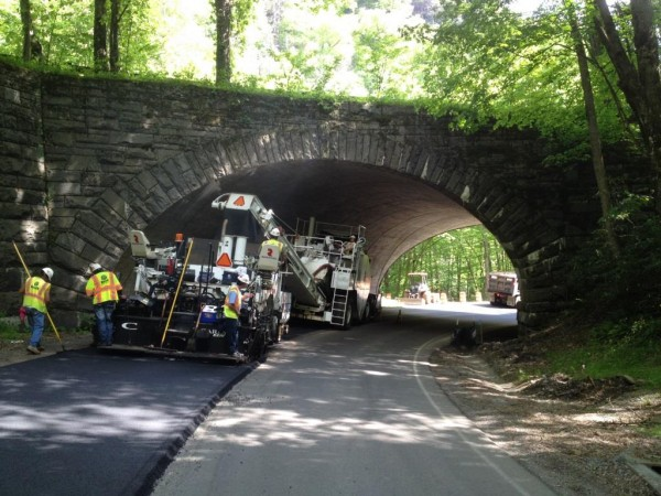 Crews work on paving the Loop-Over on Newfound Gap Road in the Great Smoky Mountain National Park.  (NPS photos)
