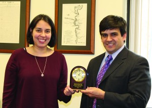 Cherokee Indian Hospital CEO Casey Cooper (right) presents the 2014 Hayes Award to Sarah Wachacha.   (CIHA photo)