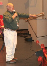 """As part of the """"Braves Don't Bully"""" rally, Cherokee storyteller Freeman Owle tells the story of the Ballgame between the Animals and the Birds to Cherokee Elementary School students on Monday, March 30."""