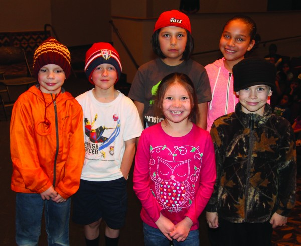 """The winners of the """"Braves Don't Bully"""" essay contest are shown (left-right) front row – Aya Driver (1st grade), Stone Marlow (Kindergarten); back row – Gideon Freeman (2nd grade), Sean Fitzgerald (3rd grade), A.J. Hill-Maney (4th grade) and Tyra Brown (5th grade).  (SCOTT MCKIE B.P./One Feather photos)"""