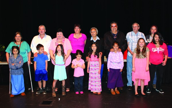 """The Cherokee Elementary Schools """"Honoring Our Grandparents"""" recipients are shown  (left to right) - Lucetta Ward with Nakaiya Hill (1st grade), Hayes Calhoun with Landon Seay (Kindergarten), Shirley Reagan with Shawnee Kirkland (1st grade), Una-lea Sampson with Kylana Sampson (Pre-Kindergarten), Katherine Panther with Nevayah Panther (2nd grade), Calloway Ledford Sr. with Madison Ledford (3rd grade), Harley Maney Sr. with Adia Frady (4th grade), Sandra Smith with Caedance Smith (5th grade).  (AMBLE SMOKER/One Feather)"""