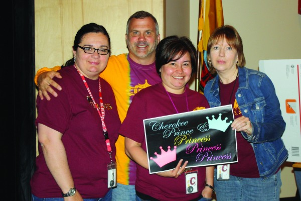 """The staff Jeopardy Quiz Bowl winning team was """"The Cherokee Prince and Princesses"""" from the Hope Center. Staff members are (left-right) Michele Galloway, Devlin Wilde, Consie Girty, and LeaAnn Andrews."""