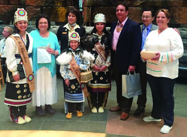 Miss Cherokee 2014 Taylor Wilnoty (center) is shown at the recent Cherokee Days event at the National Museum of the American Indian in Washington, DC.  (Photo courtesy of Taylor Wilnoty)