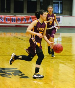 Barnard brings the ball up court during the 1A West Regional Final in Winston-Salem in March.