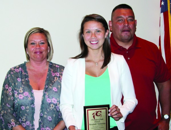 Kendall Toineeta (center), CHS 2015 Valedictorian, was honored for her classroom excellence during the annual CHS Academic Awards Banquet on Tuesday, May 19.  She is shown with her parents, Sunshine (left) and Bruce Toineeta.   (AMBLE SMOKER/One Feather)