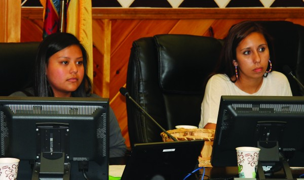 Taylor Nelson and Amy West, both members of the Junaluska Leadership Council (JLC), are shown at the JLC Meet the Candidates Forum for Birdtown held on Monday, May 11 at the Tribal Council Chambers.  (SCOTT MCKIE B.P./One Feather photos)