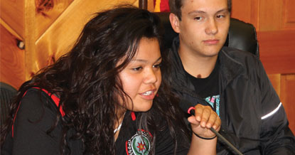 Blake Wachacha and Steven Straughan, both Junaluska Leadership Council members, are shown at the JLC Meet the Candidates event for Big Cove Tribal Council candidates held on Thursday, May 14.  (SCOTT MCKIE B.P./One Feather photos)