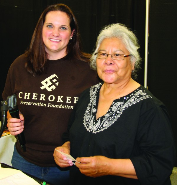 Annette Clapsaddle (left), Cherokee Preservation Foundation executive director, gives the CPF Community Club Award to Yvonne Bushyhead who accepted on behalf of the Big Cove Women's Cultural Program during the annual CPF Community Celebration on Thursday, May 7.   (SCOTT MCKIE B.P./One Feather)