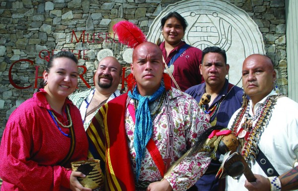 This year's Cherokee Friends are shown (left-right) – Dakota Wilnoty, John Toineeta, Mike Crowe, Last Bear Wilnoty, J.D. Arch, and Sonny Ledford.  (Photo courtesy of Museum of the Cherokee Indian)