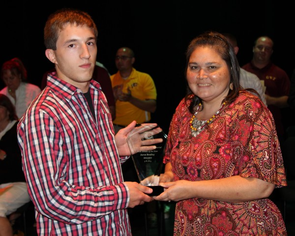 "Jaron Bradley (left) won the James ""Hogeye"" Taylor Memorial Athlete of the Year Award at the Cherokee High School Athletic Awards program on Thursday, May 21.  (AMBLE SMOKER/One Feather photos)"