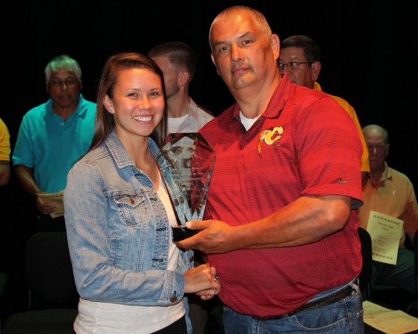 Kendall Toineeta (left) won the Bertha Saunooke Memorial Athlete of the Year Award at the Cherokee High School Athletic Awards program on Thursday, May 21.