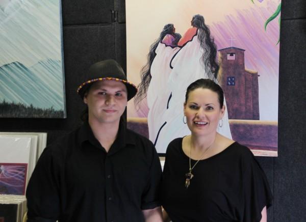 Talon Kingfisher and Traci Rabbit inside Rabbit Studios. Kingfisher is the 2015 recipient of the Bill and Traci Rabbit Scholarship.  (Cherokee Nation Foundation photo)