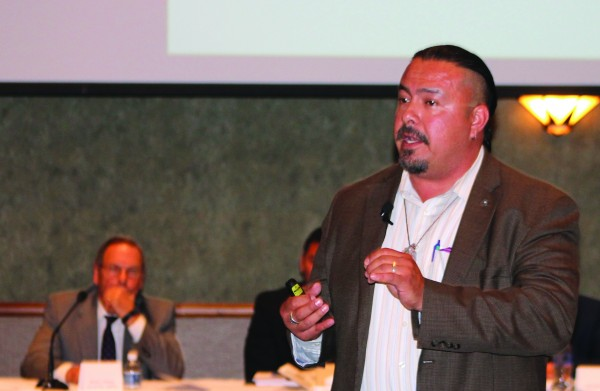 Jamie Fuller (Yavapai Apache), founder of Blue Stone Strategy Group, moderates a panel discussion during a Corporate Structuring Summit held on Tuesday, May 26 at Harrah's Cherokee Casino Resort.  (SCOTT MCKIE B.P./One Feather)