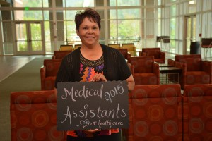Charlotte Saunooke was honored during SCC's medical assisting program pinning ceremony.