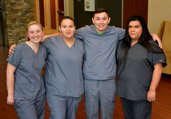 EBCI tribal members who were honored during the nursing assistant program's pinning ceremony at SCC include (left-right) Jessica Higdon, Rustlina Long, Zachary Lambert and Saundra Wade.  (SCC photos)