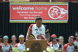 Kevin Tafoya, EBCI tribal member, speaks during the medals ceremony on Thursday.