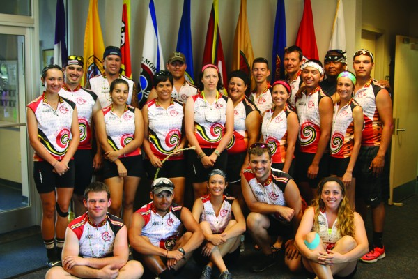 This year's Remember the Removal riders, representing the Eastern Band of Cherokee Indians and the Cherokee Nation, visited tribal leaders in Nashville on Friday, June 12.   (Photo courtesy of Brandon Stephens/USET)