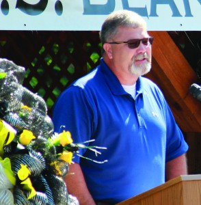David Blanton, Shawn's father, speaks during the bridge dedication ceremony.