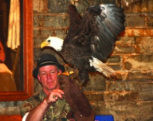 Michael Skinner, Executive Director of the Balsam Mountain Trust, is shown at a previous year's Birds of Prey program.  (SCOTT MCKIE B.P./One Feather)