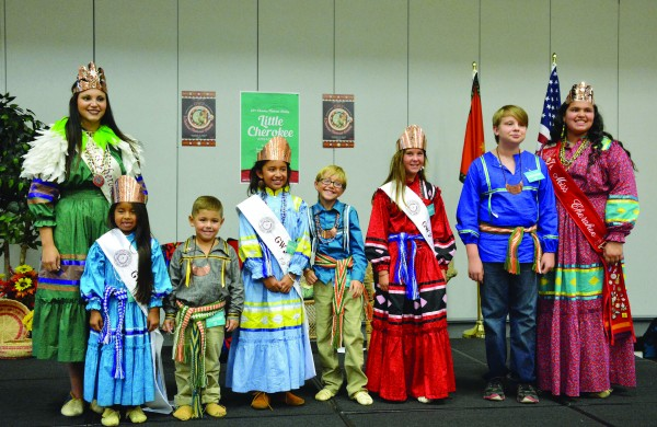 Miss Cherokee Sunday Plumb (far left) is shown with the Cherokee Nation's 2015-16 Little Cherokee Ambassadors including (left-right) Kashyah Teehee, Logan Dreadfulwater, Maysi Fields, Max Purget, Casey Henderson, Nathan Lowrey, and Junior Miss Cherokee (Nation) Chelbie Turtle.  (Anadisgoi photo)