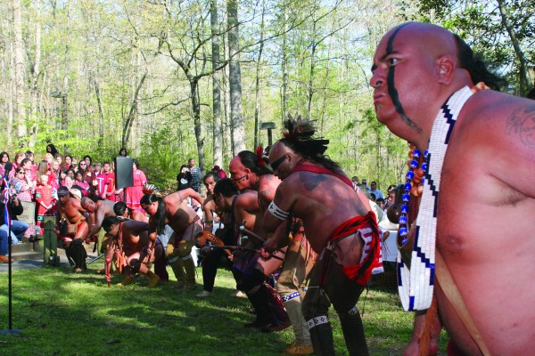 The Warriors of Anikituwah are shown dancing at the opening of the 2009 Tri-Council Meeting held at Red Clay State Park in Tennessee.  This year's Tri-Council Meeting is set to return to Red Clay on Friday, Aug. 28.  (SCOTT MCKIE B.P./One Feather)