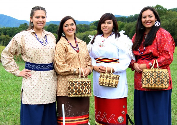 The four contestants in this year's Miss Cherokee pageant met at the Kituwah Mound on the afternoon of Sunday, Sept. 27.  Shown (left-right) are – Taran Swimmer, Amorie Gunter, Caressa Jackson and Shelby Parker.  (SCOTT MCKIE B.P./One Feather photos)