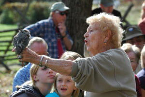"""Known as """"The Eagle Lady"""", Mager has been working with raptors for over 35 years. (NPS photo)"""