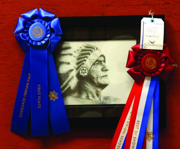 Brian Lambert won a first place ribbon and a Best of Show ribbon for his pencil drawing of Chief Henry.