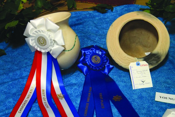 Joely Queen won a first place ribbon and a Best of Show ribbon for her pottery pieces.