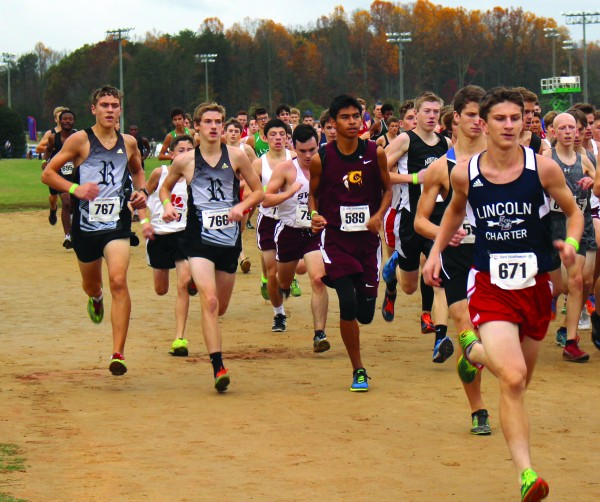 Cherokee's Darius Lambert (#589) took fourth at the 1A  State Cross Country Championship on Saturday, Nov. 7 with a time of 17:36.13 and was named to the All-State Team.   (Photos by Radonna Crowe)