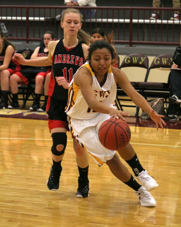 Cherokee's Pooh King (#10) drives past Andrews' Erika Griggs (#11) in the first half of Tuesday's game.  King led the Lady Braves with 23 points.