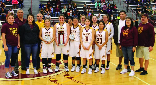 The Cherokee Lady Braves took second place at the Holidays on the Hardwood Tournament held Dec. 21-23 at the Charles George Memorial Arena. (SCOTT MCKIE B.P./One Feather photos)