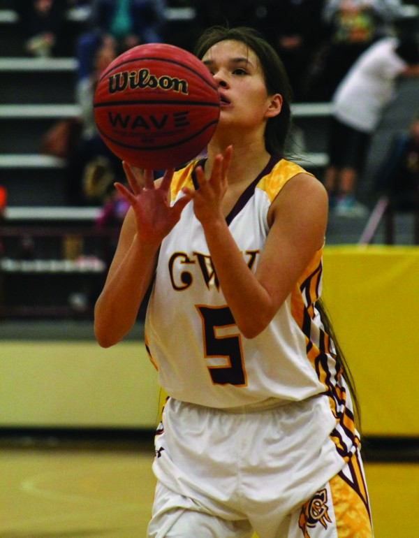 LeLe Lossiah, Lady Braves senior guard, sets up for a free throw during Tuesday's home game against Swain. She led Cherokee with 19 points including five three-pointers. (SCOTT MCKIE B.P./One Feather photos)