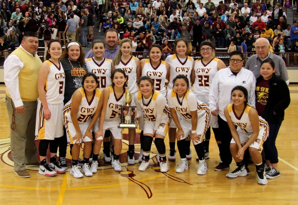 The Cherokee Lady Braves won the Big Smoky Mountain Conference tournament title with a 61-40 win over Swain County on Friday, Feb. 19 at the Charles George Memorial Arena. (SCOTT MCKIE B.P./One Feather photos)