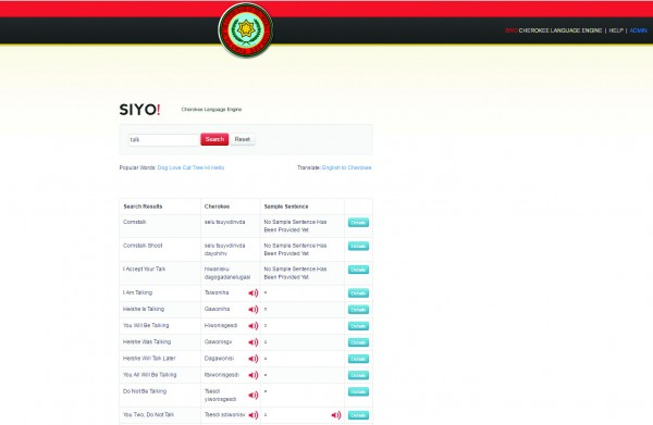 A screen shot of a new Cherokee Language searchable database site (www.siyo.brokentrap.com) shows a search for the word talk.