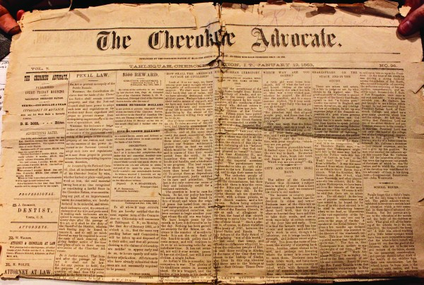 A copy of the Jan. 1, 1883 issue of The Cherokee Advocate was donated to the Museum of the Cherokee Indian on Wednesday, April 20. (Photos by Dawn Arneach/Museum of the Cherokee Indian)