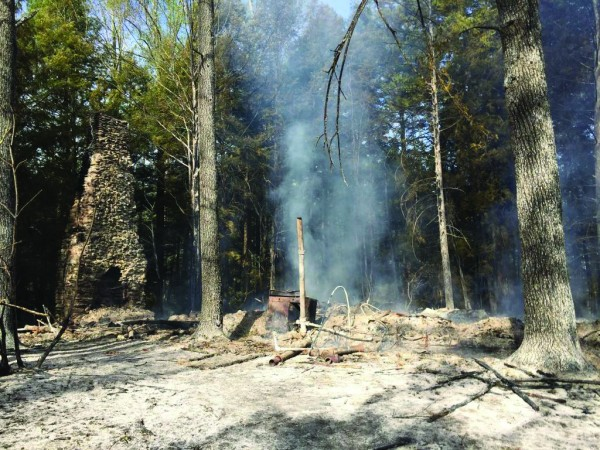 An 8,600 square foot structure associated with the former Wonderland Hotel in the Elkmont area of Great Smoky Mountains National Park burned to the ground on Tuesday, April 19. (NPS photos)