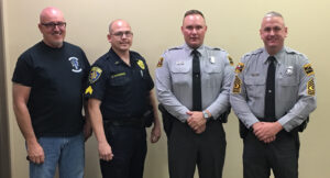 Law enforcement officials are shown (left-right) during a recent DWI sweep including – Chief of Police Dike Sneed, CIPD Patrol Sergeant Nick Stephenson, State Trooper Aaron Ammons and NCHP First Sergeant Chris Wood.