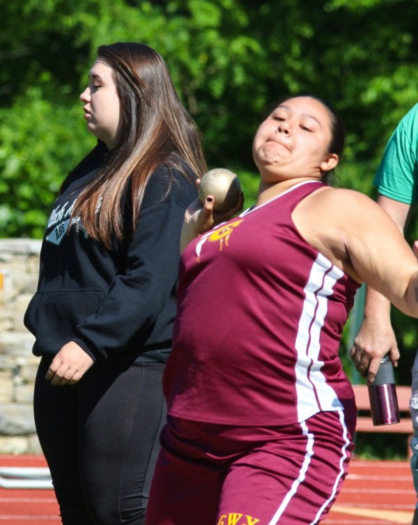 Cherokee's Tiarra Toineeta placed ninth in the girls shot put with a throw of 29-00.25.