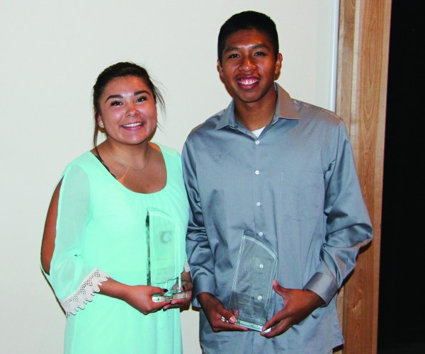 """Bree Stamper won the Bertha Saunooke Memorial Female Athlete of the Year Award at the annual Cherokee High School Athletic Awards Banquet on Tuesday, May 24 and Jason McMillan won the James """"Hogeye"""" Taylor Memorial Male Athlete of the Year Award.  (SCOTT MCKIE B.P./One Feather photos)"""